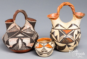 Two Acoma Indian pottery wedding vases