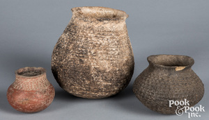 Three early Anasazi Indian pottery pots