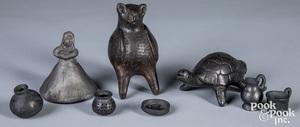 Two Oaxacan blackware pottery animal whistles