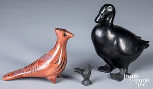 Three Oaxacan pottery bird effigies