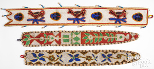 Three African beaded belts with cowrie shells