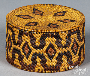 Asiatic coiled lidded basket