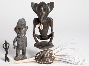 Three Papua New Guinea wood carved idols, etc.
