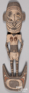 Papua New Guinea carved and painted figural basket