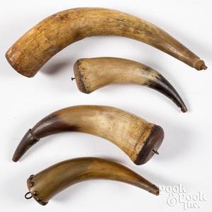 Six powder horns