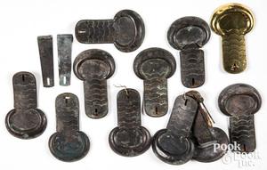 Five pairs of Civil War era brass scale epaulettes