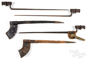 Three trapdoor bayonets, one with scabbard