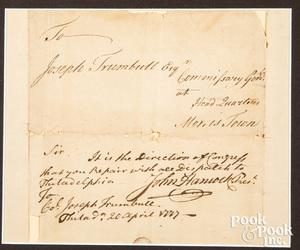 John Hancock signed Revolutionary War document