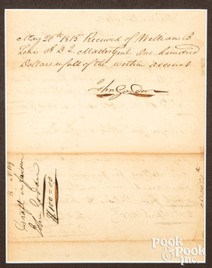 War of 1812 signed Tennessee ferry receipt