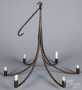 Wrought iron hanging chandelier, 19th c.