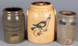 Three stoneware crocks, 19th c.