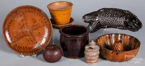 Seven pieces of Pennsylvania redware