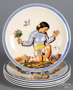 Five Rockwell Kent plates, by Vernon Kilns