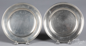 Two pewter plates, 19th c.