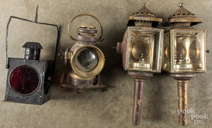 Four early brass and tin lanterns