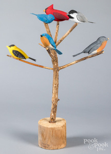 Walter Frey carved and painted bird tree