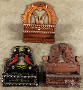 Three tramp art wall boxes, early 20th c.