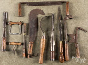 Group of wood handled iron tools