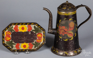 Toleware coffee pot and tray, 19th c.