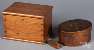 Dovetailed walnut box, 19th c.