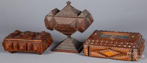 Three tramp art dresser boxes, ca. 1900