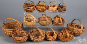 Collection of small woven baskets