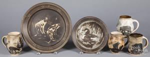 Six pieces of wildlife theme pottery