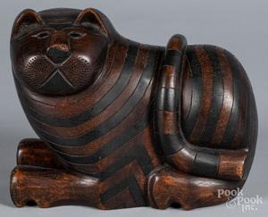Carved mahogany Cheshire cat