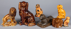 Seven pottery spaniels and banks