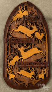 Fretwork wall plaque, early 20th c.