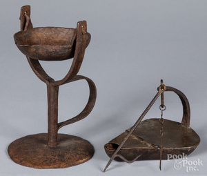 Two iron and copper fat lamps, 18th/19th c.
