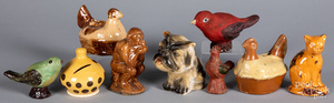 Redware and pottery animal figures and banks