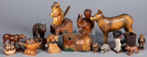 Collection of carved wood animals