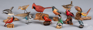 Collection of carved and painted birds