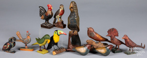 Collection of carved and painted folk art birds
