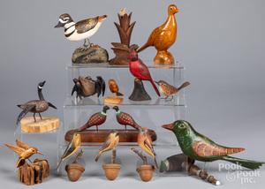 Carved folk art birds