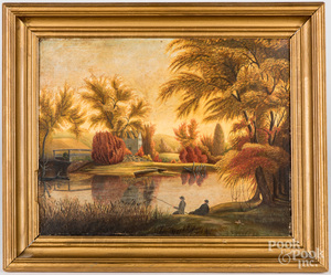 American oil on board primitive landscape, 19th c.