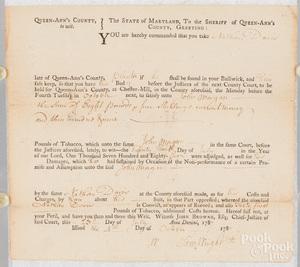 Maryland bond document, dated 1787