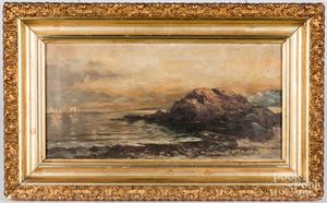 Oil on canvas coastal scene, late 19th c.