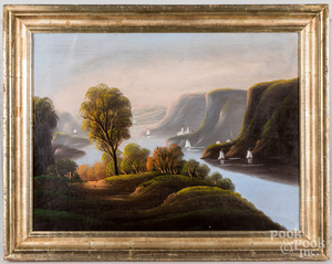 Hudson River oil on canvas landscape, 19th c.