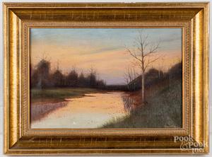 Horace Hess oil on canvas sunset river scene