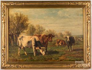 Johannes de Hass oil on canvas landscape with cows