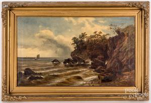 Oil on canvas coastal scene