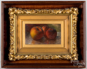 Oil on board still life with peaches