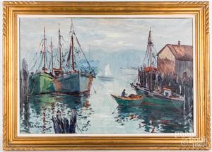Cesare Ricciardi oil on canvas harbor scene