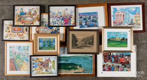 Thirteen framed works