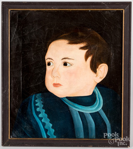 Primitive oil on canvas portrait of a boy