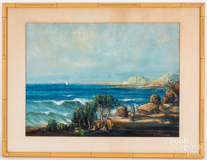 Leonid Gechtoff pastel coastal scene