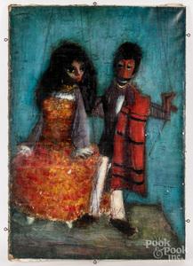 Jaques Voyet oil on canvas portrait of two figures