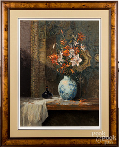 Signed print of a still life with vase of flowers